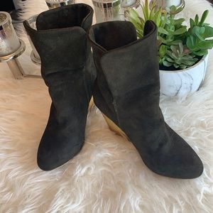 Zara suede green olives wedge ankle boot size 36